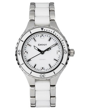 Image 1 ofDKNY Silver And White Ceramic Bracelet Watch
