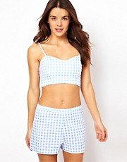 ASOS Gingham Bralet and Short Beach Set