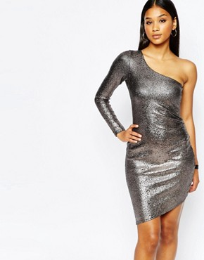Fleur East By Lipsy One Shoulder Metallic Bodycon Dress