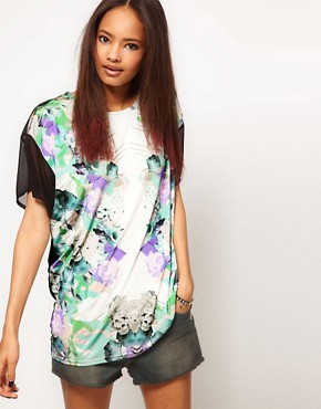 Image 1 ofASOS T-Shirt with Mirror Floral Print