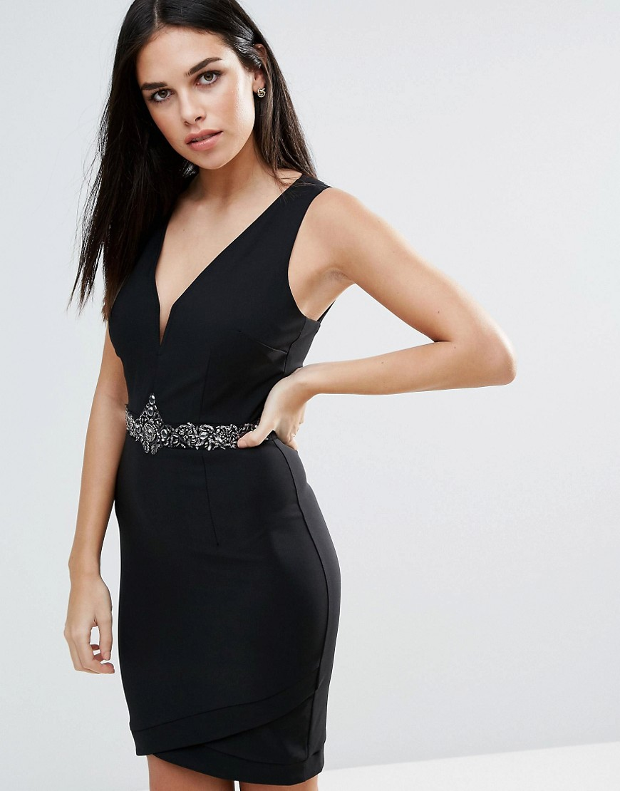 Little Mistress Plunge Bodycon Dress With Jewel Waist