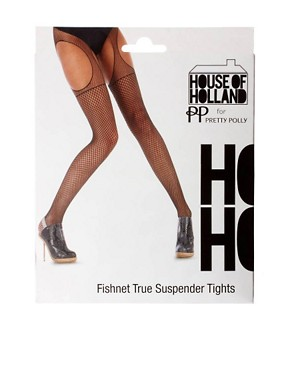 Image 3 of House of Holland Fishnet Suspender Tights