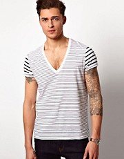 ASOS Stripe T-Shirt With Deep V Neck