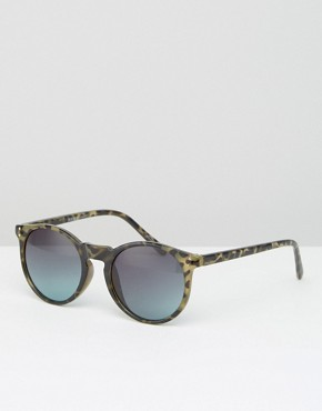 Pieces Round Sunglasses in Tortoise with Mirror Lens