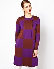 M Missoni Longline Wrap Coat in Oversized Check