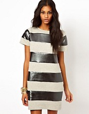 ASOS Shift Dress In Metallic Stripe