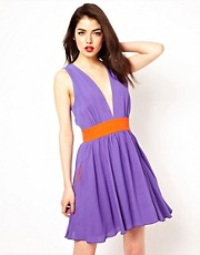 Boulee Plunge Neck Skater Dress with Contrast Waistband