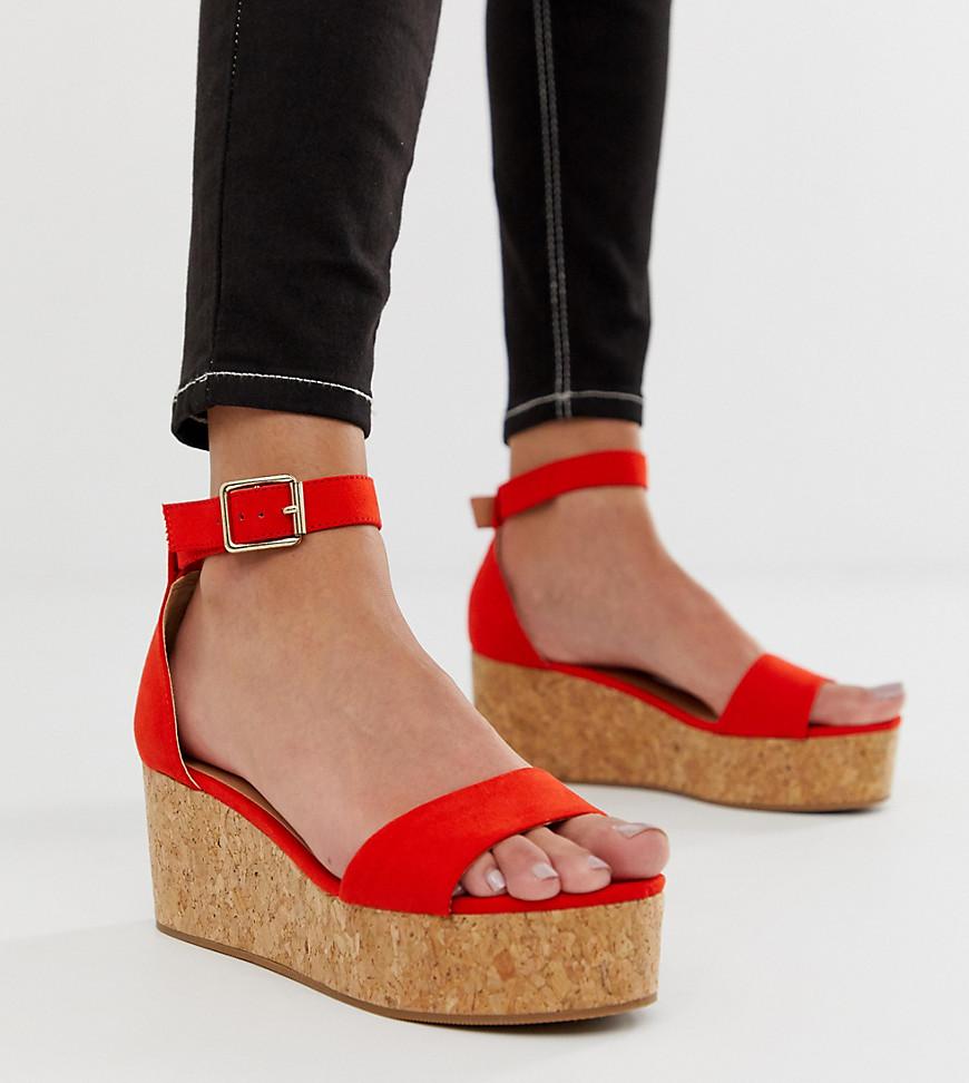 New Look - Sandales à semelle plateforme plate - Orange vif - Orange