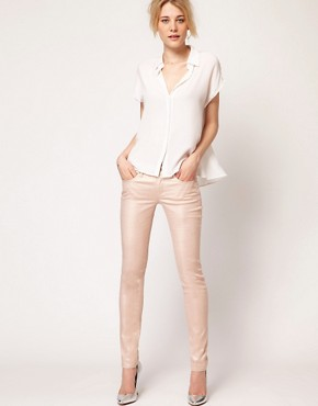 Image 4 ofFrench Connection Gold Metallic Skinny Jean