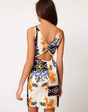Image 2 ofRiver Island Floral Print Peplum Dress