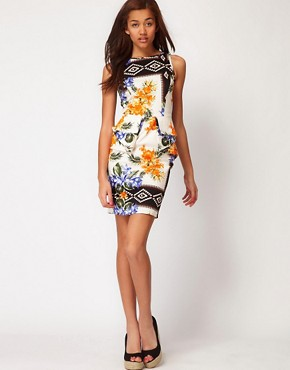 Image 4 ofRiver Island Floral Print Peplum Dress