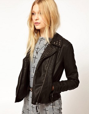 Image 1 ofRiver Island Leather Look Stud Biker Jacket
