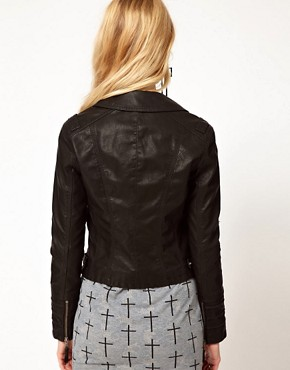 Image 2 ofRiver Island Leather Look Stud Biker Jacket