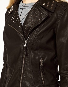Image 3 ofRiver Island Leather Look Stud Biker Jacket