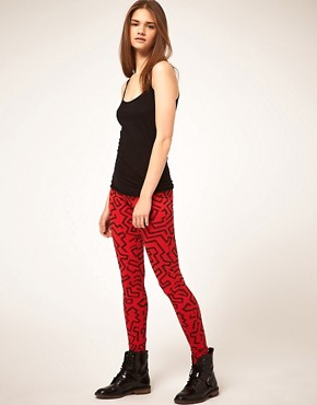 Image 1 ofASOS Leggings in Pop Squiggle Print