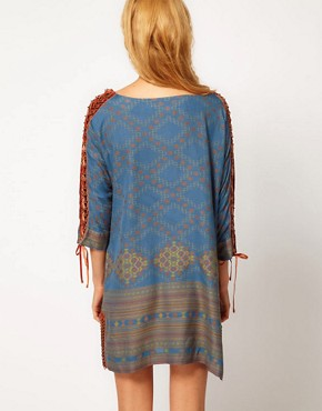 Image 2 ofFree People Lace Up Sleeve Printed Dress