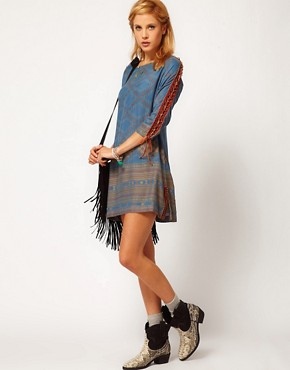 Image 4 ofFree People Lace Up Sleeve Printed Dress