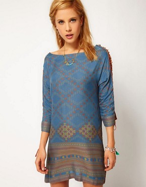 Image 1 ofFree People Lace Up Sleeve Printed Dress