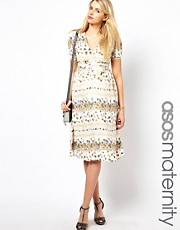 ASOS Maternity Midi Dress In Vintage Floral Print