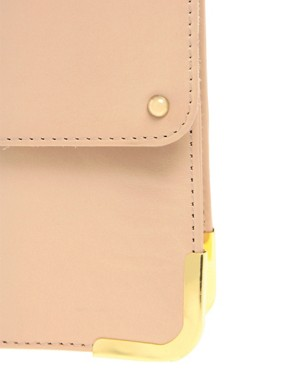 Image 4 of ASOS Leather Portfolio Clutch With Metal Tip