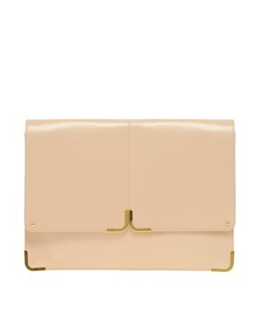 Image 1 of ASOS Leather Portfolio Clutch With Metal Tip