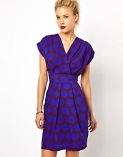 Closet Wrap Front Tulip Dress in Circle Print