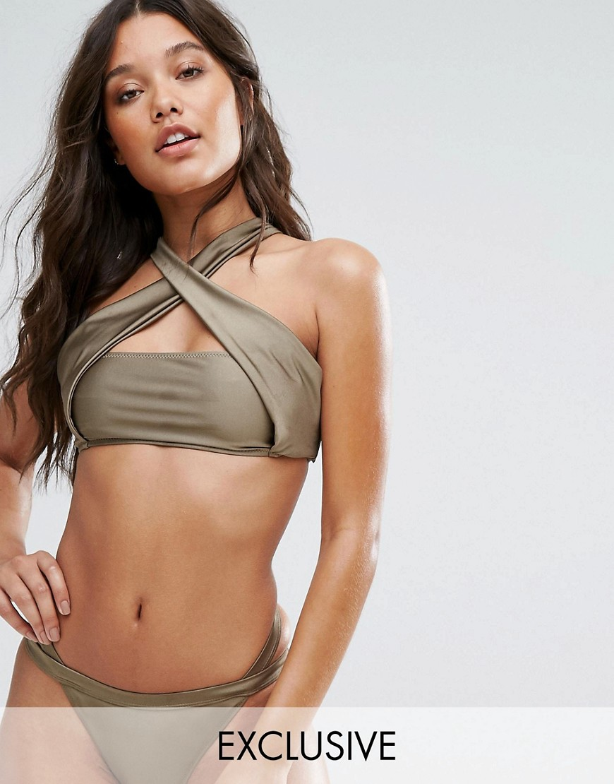 And Co Cross Over Bikini Top - Gold