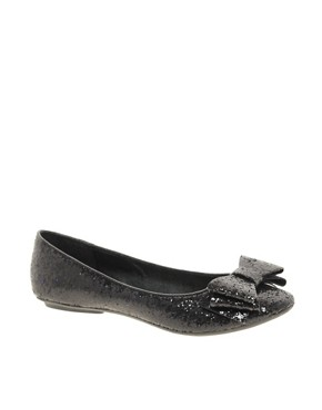 Image 1 ofFaith Azriel Black Glitter Bow Flat Shoes