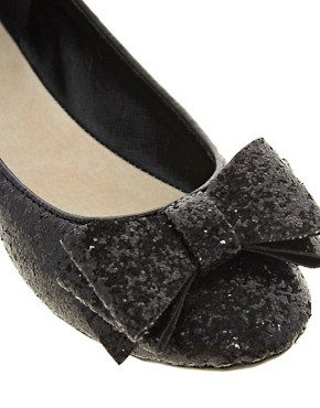 Image 2 ofFaith Azriel Black Glitter Bow Flat Shoes