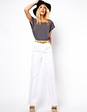 Pantalones con pernera ancha y cintura de talle alto de ASOS WHITE