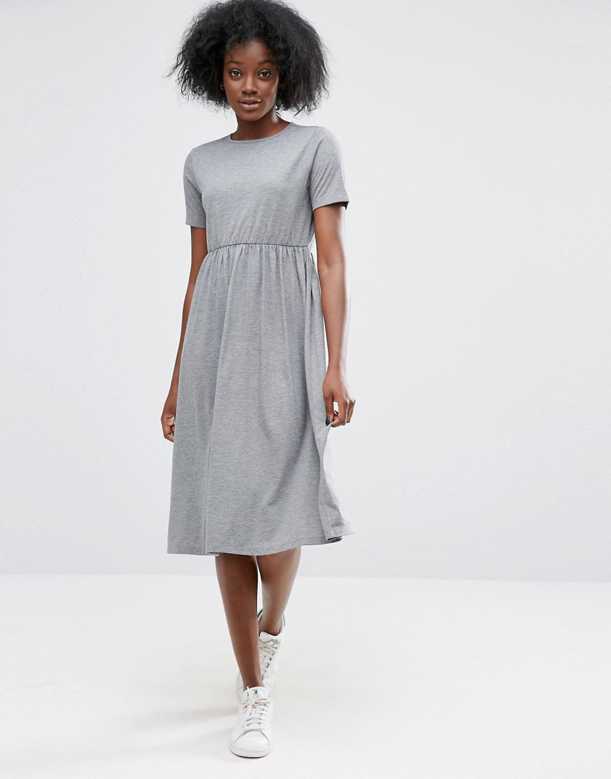 ASOS Midi Smock Dress with Cut Out Back - Gray