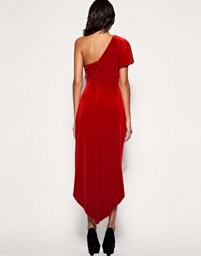 Image 2 ofASOS PREMIUM One Shoulder Velvet Maxi Dress