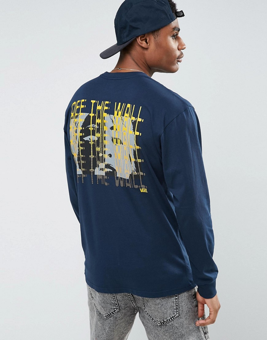 Vans Zapper Long Sleeve T-Shirt With Back Print In Navy VA36LPNVY - Navy