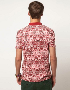 Image 2 ofRiver Island Polo Shirt with Aztec Print