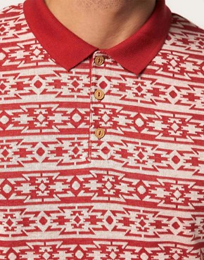 Image 3 ofRiver Island Polo Shirt with Aztec Print