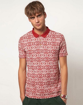 Image 1 ofRiver Island Polo Shirt with Aztec Print