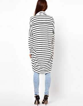 Image 2 ofJust Female Oversized Stripe Top With Cowl Neck