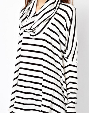 Image 3 ofJust Female Oversized Stripe Top With Cowl Neck