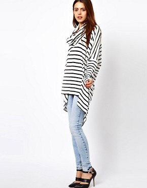 Image 4 ofJust Female Oversized Stripe Top With Cowl Neck