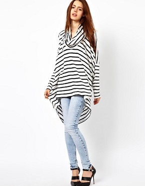 Image 1 ofJust Female Oversized Stripe Top With Cowl Neck