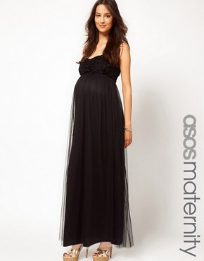Image 1 ofASOS Maternity Exclusive Maxi Dress With Floral Applique