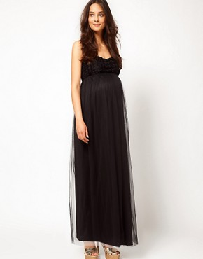 Image 4 ofASOS Maternity Exclusive Maxi Dress With Floral Applique