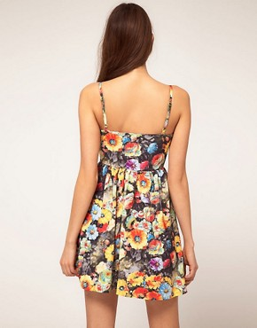 Image 2 ofRare Bustier Dress In Photographic Floral