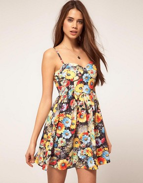 Image 1 ofRare Bustier Dress In Photographic Floral