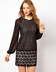 Coast Sophette Pop on Geo Lace Dress