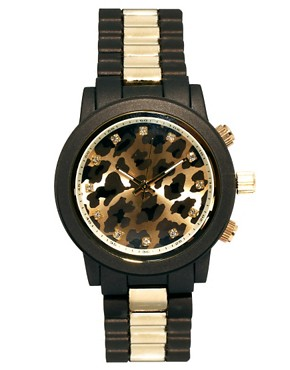 Image 1 ofRiver Island Leopard Stripe Emily Chronograph Watch