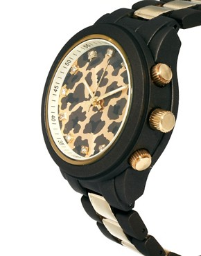 Image 4 ofRiver Island Leopard Stripe Emily Chronograph Watch