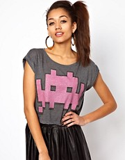 Motel Game Over Crop T Shirt