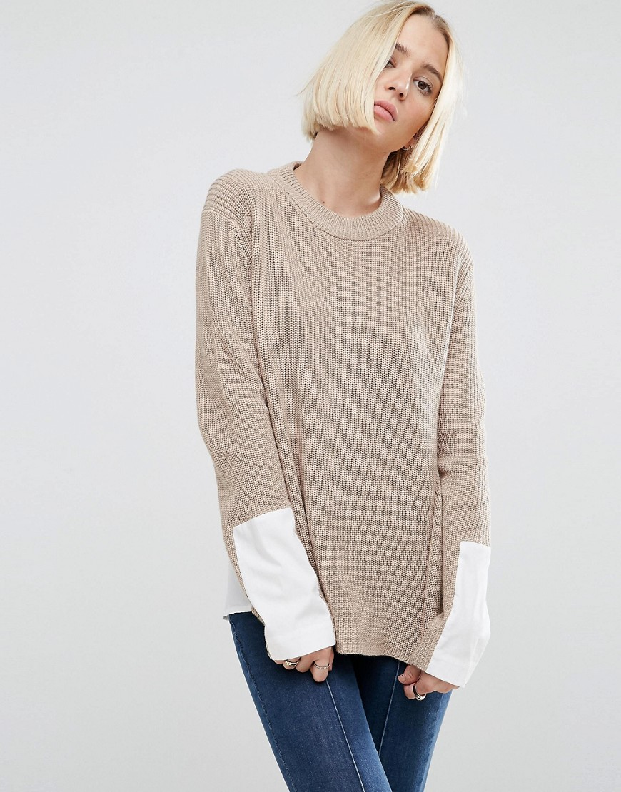 ASOS Jumper with High Neck and Woven Back - Oatmeal