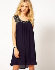 Mango Sequin Detail Swing Dress